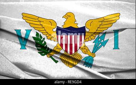Realistic flag of Virgin Islands of the United States on the wavy surface of fabric. Perfect for background or texture purposes. - Stock Photo