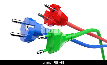 Different colored electric power plugs isolated on white background 3D rendering - Stock Photo