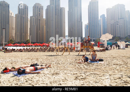 DUBAI, UAE - January 07, 2019: Camels and lying tourists on skyscrapers background at the beach - Stock Photo