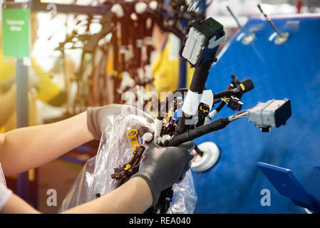 Worker is packing a wiring harnesses, production line, workflow. Automobile industry, manufacturing - Stock Photo