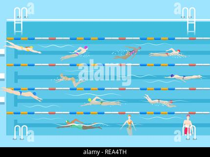 People in pool. Swim men and women in public swimming pool vector illustration, swimmers on lanes - Stock Photo
