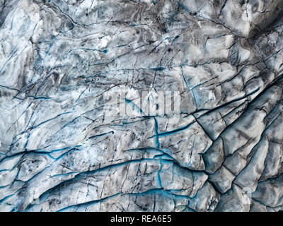 Drone view of the Fjallsarlon iceberg glacier lagoon in Iceland. Vatnajokull glacier aerial dramatic winter scene. - Stock Photo