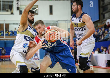 Crystal Palace, London, UK, 20th Jan 2019. Royals Will Neighbour (15) on the attack against the Worcester Defense. Tensions run high  between home team London City Royals  and Worcester Wolves in the  BBL Championship basketball game at Crystal Palace Sports Centre. Royals win 79-66 Credit: Imageplotter News and Sports/Alamy Live News - Stock Photo