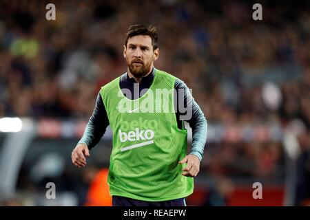 Barcelona, Spain. 20th Jan, 2019. FC Barcelona's Argentinian striker Lionel Messi during the Spanish first division LaLiga Santander 20th round march between FC Barcelona and Leganes, at the Camp Nou stadium, in Barcelona, Catalonia, Spain, 20 January 2019. Credit: Toni Albir/EFE/Alamy Live News - Stock Photo