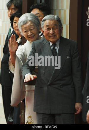 Tokyo, Japan. 20th Jan, 2019. Their Imperial Majesties EMPEROR AKIHITO and EMPRESS MICHIKO of Japan arrive for the Tokyo Grand Sumo Tournament at Ryogoku Kokugikan. Akihito is scheduled to abdicate on 30 April 2019, due to age and declining health. He is to be succeeded by his son, Crown Prince Naruhito. Credit: Ramiro Agustin Vargas Tabares/ZUMA Wire/Alamy Live News - Stock Photo