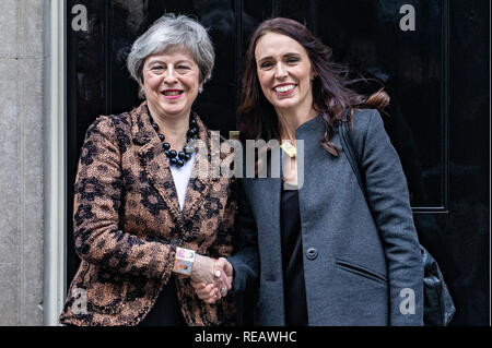London, UK. 21st January 2019. British Prime Minister, Theresa May, meets New Zealand's Prime Minister, Jacinda Ardern for talks in Number 10 Downing Street Credit: Tommy London/Alamy Live News - Stock Photo