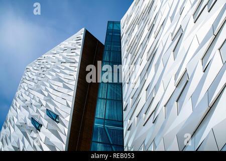 General view of Titanic Belfast in the dockside area of Belfast, UK - Stock Photo