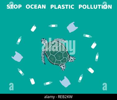 vector illustration of stop ocean plastic pollution. ecology, Earth Day. - Stock Photo