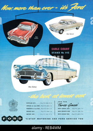 1956 British advertisement for Ford motor cars at the Earls Court Motor Show. - Stock Photo