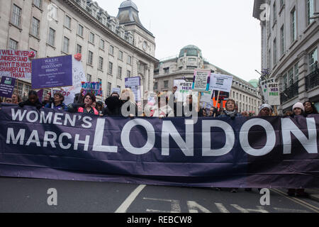 London, UK. 19th January, 2019. Thousands of women attend the Bread & Roses Rally Against Austerity in Trafalgar Square organised by Women's March. - Stock Photo