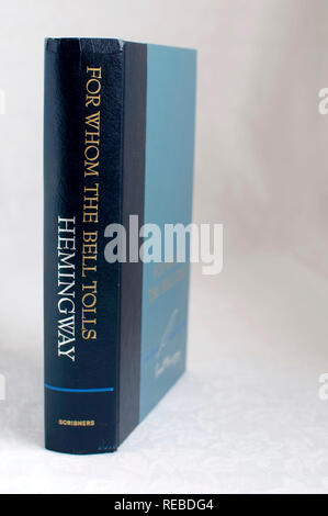 The book For Whom The Bell Tolls a novel by Ernest Hemingway.  Renewed copyright  ©1967 by Mary Hemingway. - Stock Photo