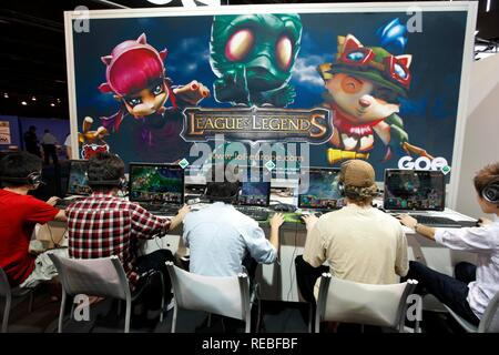 League of Legends, an international video game competition on the Entertainment Area of the Gamescom, the world's largest fair - Stock Photo