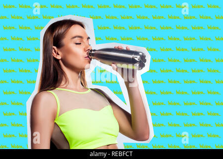 young woman in sportswear drinks water on a blue-yellow background in the style of light-music and elements of a collage. Sports concept on the theme  - Stock Photo
