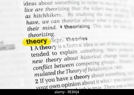 Highlighted English word 'theory' and its definition at the dictionary. - Stock Photo