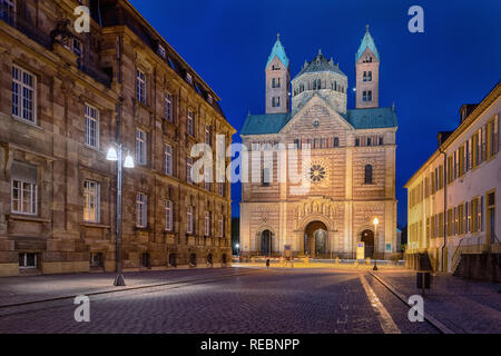 Facade of Speyer Cathedral (Dom zu Speyer) at dusk, Germany - Stock Photo