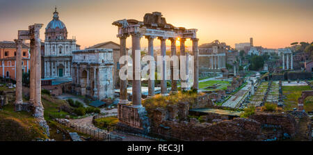 The Roman Forum, also known by its original Latin designation Forum Romanum, is located between the Palatine Hill and the Capitoline Hill in Rome. - Stock Photo