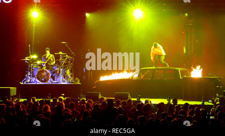 LOS ANGELES, CA - JANUARY 19: Musicians/singers Josh Dun and Tyler Joseph of Twenty One Pilots perform in concert on January 19, 2019 at The Forum in Los Angeles, California. Photo by Barry King/Alamy Stock Photo - Stock Photo