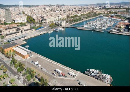 Port Vell and Rambla de Mar footbridge, Barcelona, Catalonia, Spain, Europe - Stock Photo