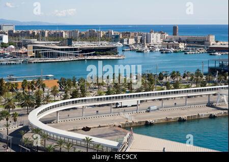 Maremagnum commercial center and Rambla de Mar footbridge, Port Vell, Barcelona, Catalonia, Spain, Europe - Stock Photo
