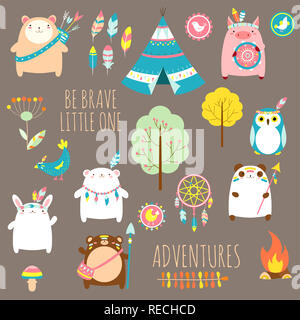 Be brave little one. Vector set of cute woodland tribal animals, birds, tent, wigwam, dream catcher in cartoon style. EPS8 - Stock Photo