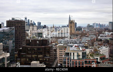 Westminster Abbey and Victoria Tower from Westminster Cathedral lookout. London, United Kingdom. - Stock Photo