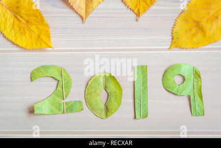 Natural leaf art showing Happy New Year 2019 on a wooden background. - Stock Photo