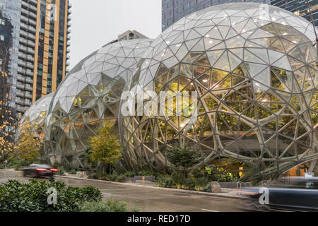 Seattle, Washington, USA - 27 October 2018. View of Amazon the Glass Spheres at its Seattle headquarters and Conference Center in Downtown Seattle. - Stock Photo