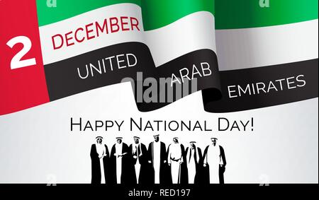 Happy national day, United Arab Emirates, congratulation banner, flag and inscription, greeting card or invitation poster, union symbol, vector - Stock Photo