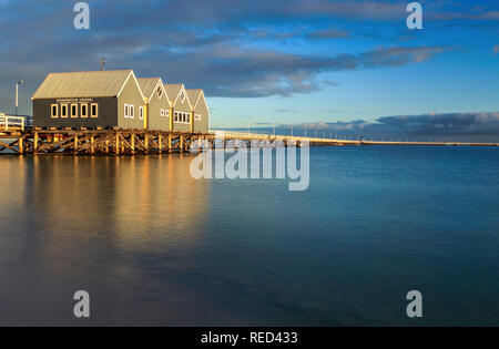 A winter sunrise at the Busselton Jetty, Western Australia. - Stock Photo