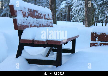 garden bench covered with deep snow in the foreground - Stock Photo