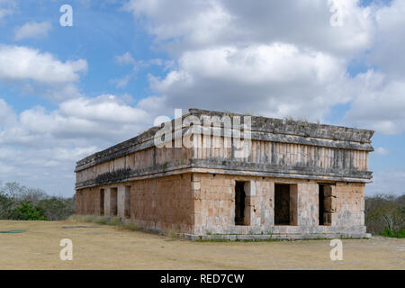 House of Turtles, a building in the ancient Mayan city of Uxmal, in Mexico - Stock Photo