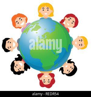 Children around the world, smile kids and the globe, cartoon flat style - vector illustration - Stock Photo