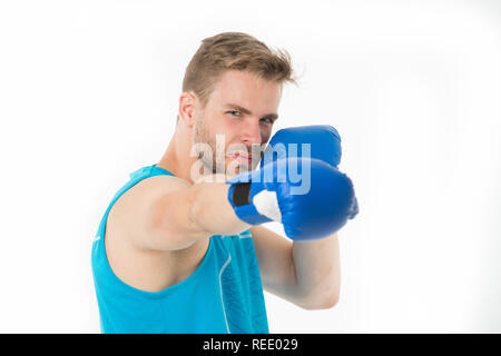 Sportsman boxer concentrated training boxing gloves. Man concentrated face in blue gloves practice fighting skills isolated white background. Boxer practicing before sparring. Boxing is his passion. - Stock Photo