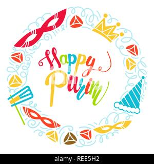 Purim greeting card in doodle style with with carnival mask, hats, crown, noise make and hamantaschen. Colorful vector illustration. Isolated on white background - Stock Photo