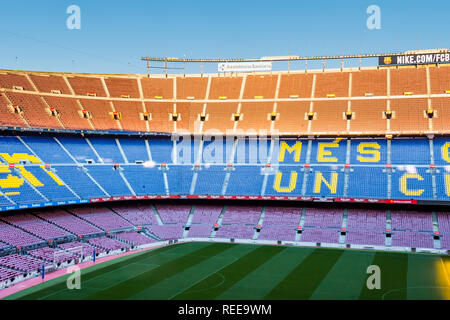 Barcelona - December 2018: Inside Camp Nou - home stadium of FC Barcelona is the largest stadium in Spain and Europe - Stock Photo