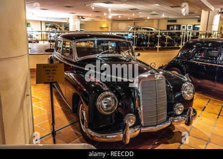FONTVIEILLE, MONACO - JUN 2017: black MERCEDES T300 1954 in Monaco Top Cars Collection Museum. - Stock Photo