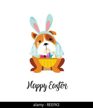 Happy Easter card, dog wearing bunny costume - Stock Photo