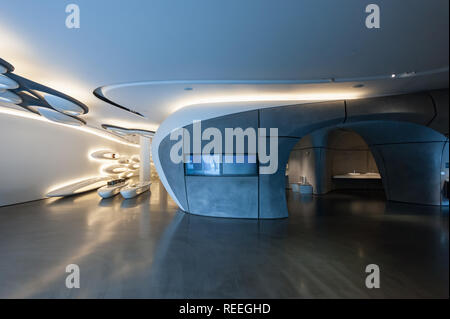 Roca London Gallery, futuristic showroom in Chelsea Harbour designed by Zaha Hadid Architects, interior - Stock Photo