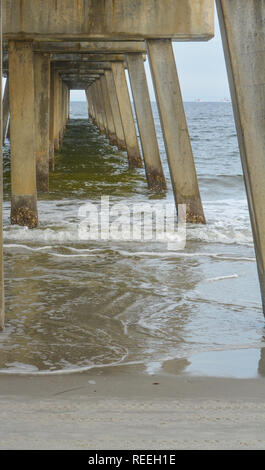 Jacksonville Beach Pier in Duval County, Florida - Stock Photo