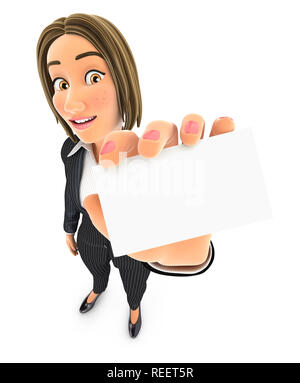 3d business woman holding company card, illustration with isolated white background - Stock Photo