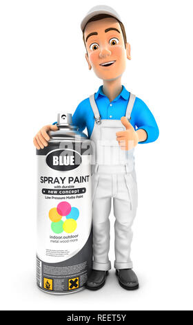 3d painter standing next to big spray paint bottle, illustration with isolated white background - Stock Photo