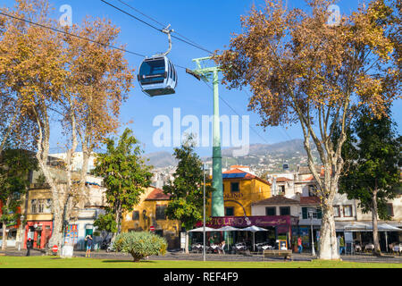 MADEIRA Funchal cable car connecting Zona velha old town funchal to Monte up the mountain Fuchal zona velha Madeira Portugal EU Europe - Stock Photo