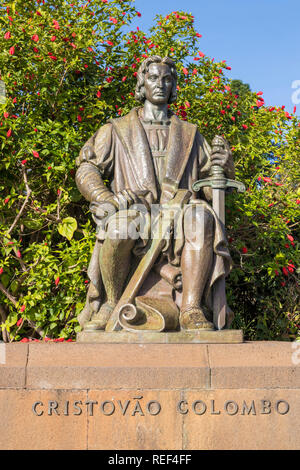Funchal  Christopher Columbus Statue in bronze Santa Catarina Park, Avenida do Infante Funchal city centre Madeira portugal eu europe - Stock Photo