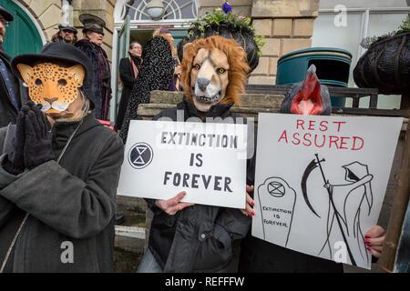 Glastonbury, UK. 12th Jan 2019. Extinction Rebellion Funeral March through town centre. Credit: Guy Corbishley/Alamy Live News