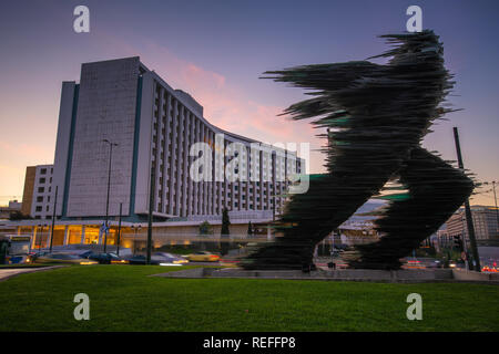 Athens, Greece - October 29, 2018: Statue in front of Hilton in Evangelismos in central Athens. - Stock Photo