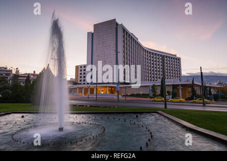 Athens, Greece - October 29, 2018: Fountain at Hilton hotel in Evangelismos, central Athens. - Stock Photo