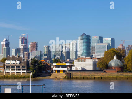 Canary Wharf view from Greenwich - Stock Photo