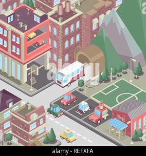 City district in isometric 3d style. Vector town. Set of buildings, houses, townhouses, multi-family homes, shop, bar, school, hospital, car parking. - Stock Photo