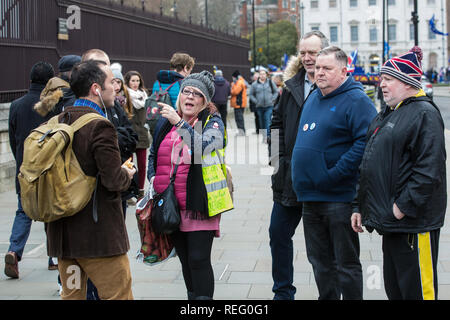 London, UK. 21st January, 2019. Supporters of Yellow Vests UK confront a Remainer outside the Houses of Parliament, Credit: Mark Kerrison/Alamy Live News - Stock Photo
