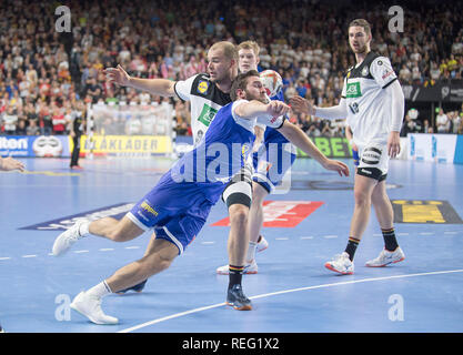 Cologne, Deutschland. 19th Jan, 2019. Paul DRUX l. (GER) in Duel versus Teitur Oern EINARSSON (ISL), Defense, duels, Action, Main Round Group I, Germany (GER) - Iceland (ISL) 24 - 19, on 19/01/2019 in Koeln/Germany. Handball World Cup 2019, from 10.01. - 27.01.2019 in Germany/Denmark. | usage worldwide Credit: dpa/Alamy Live News - Stock Photo
